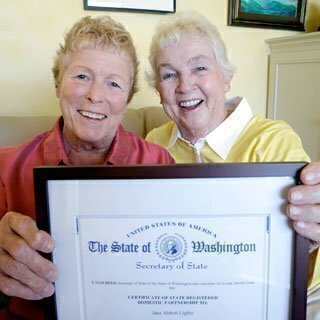 Certificate of Domestic Partnership<br>Courtesy of Associated Press