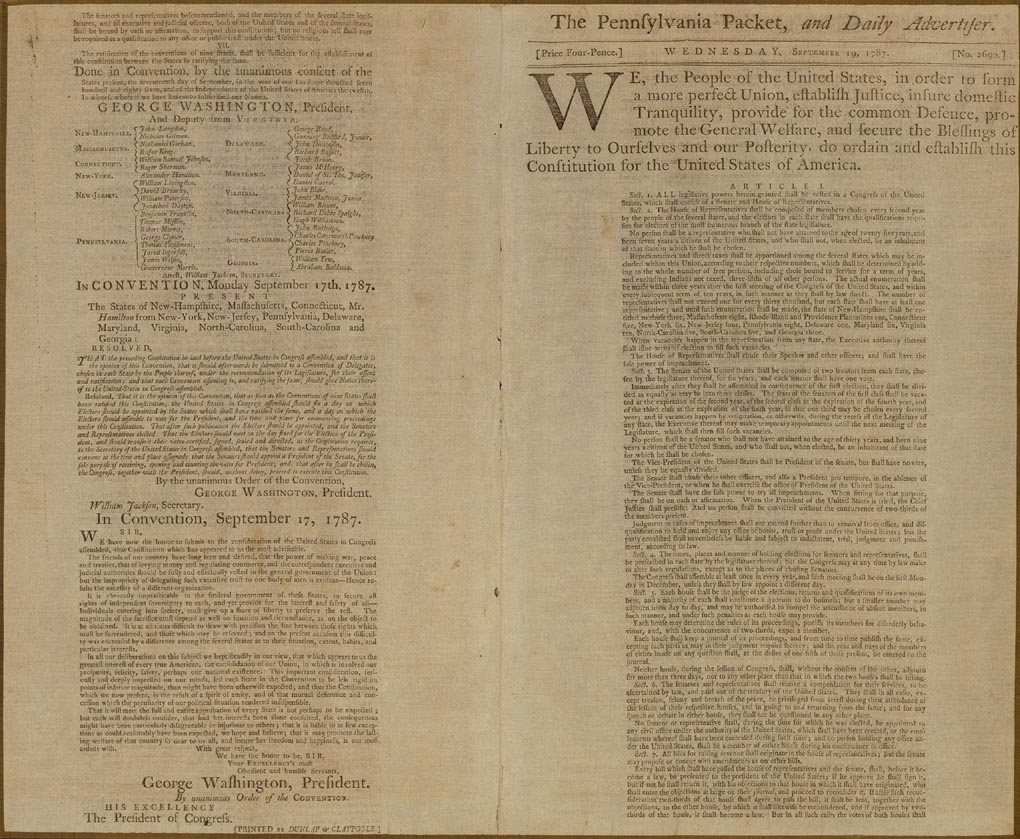 the constitution of the united states first public printing