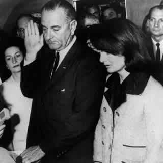 Lyndon Baines Johnson taking presidential oath